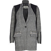 Grey check leather-look panel jacket