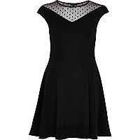 Black polka dot mesh fit and flare dress