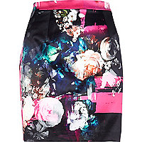 Black painted floral print mini skirt