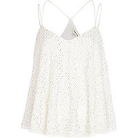 White emebllished strappy cami