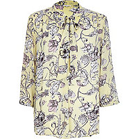 Yellow floral print pussybow blouse