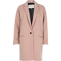 Light pink wool-blend oversized coat
