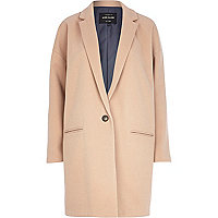 Camel wool-blend oversized coat