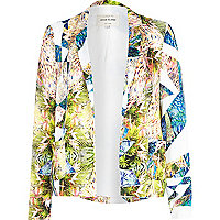 Yellow graphic print relaxed blazer