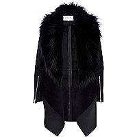 Black leather-look faux fur waterfall jacket