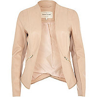 Pink leather-look blazer jacket