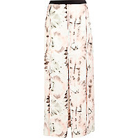 Pink smudge print split panel maxi skirt