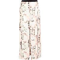Pink smudge print split panel maxi skirt