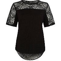 Black lace back curved hem t-shirt