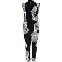 Black swirl print pussybow jumpsuit
