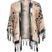Beige floral print fringed kimono