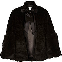 Black faux fur tied cape