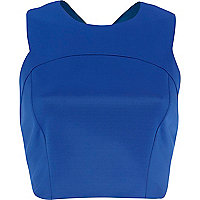 Blue cross back crop top