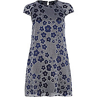 Navy floral print swing dress