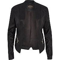 Black leather-look fitted jacket