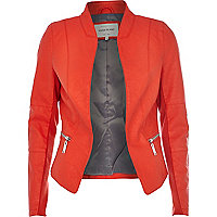 Red leather-look jacket