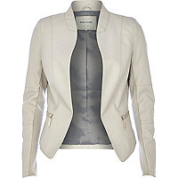 Grey leather-look jacket
