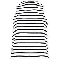 White striped turtle neck top