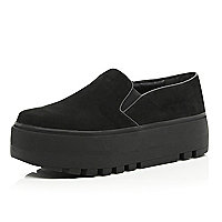 Black slip on extreme flatform plimsolls