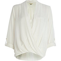 Cream wrap front roll sleeve blouse
