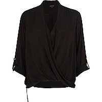 Black wrap front roll sleeve shirt