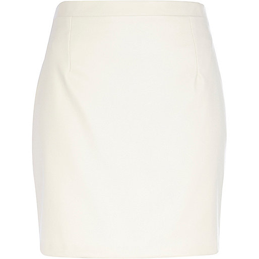 Cream leather-look mini skirt