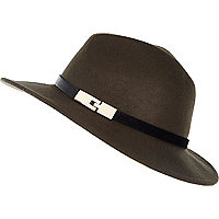 Dark green fedora hat