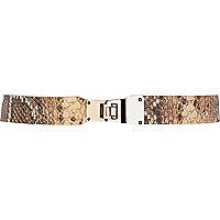 Beige snake print waist belt