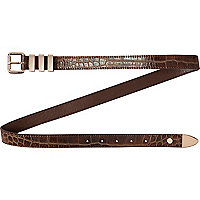 Brown faux crocodile jeans belt