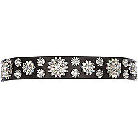 Black diamante flower embellished waist belt