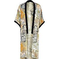 Cream paisley velvet trim longline kimono