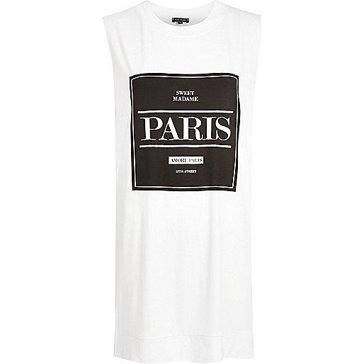 White Paris front print longline tank top