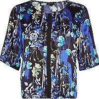 Blue floral print boxy crop top