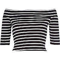 Black stripe bardot crop top