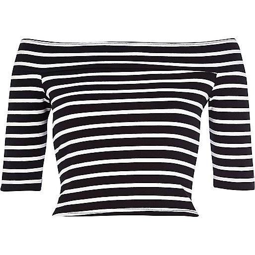 Black stripe bardot crop top