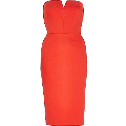Red V neck bandeau pencil dress