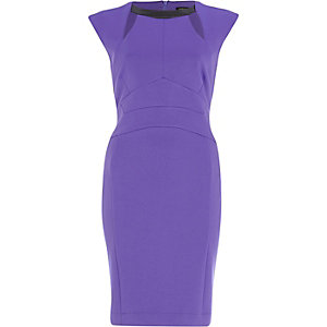 Purple contrast trim cut out pencil dress