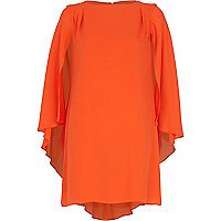 Orange cape sleeve shift dress