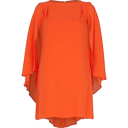 Orange cape sleeve shift dress