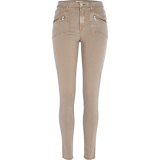 Beige pocket detail Molly biker jeggings