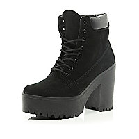 Black lace up platform worker boots