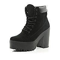 Black lace up platform worker boots