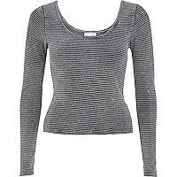 Dark grey rib scoop neck long sleeve t-shirt