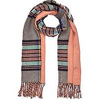 Coral tartan blanket scarf