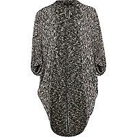Grey slub knit cocoon cardigan