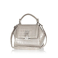 Grey croc mini tote bag