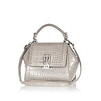 Grey croc mini tote bag