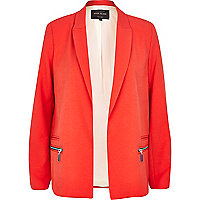 Red zip detail oversized blazer