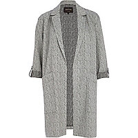 Black jacquard duster coat