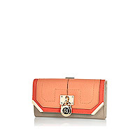 Coral colour block padlock purse